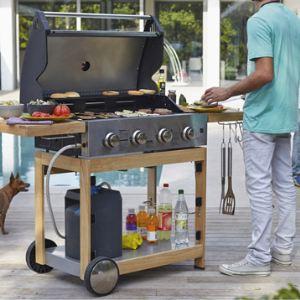 Naterial Miami 4b - Barbecue à gaz 4 brûleurs + plaque chauffante en bois et métal