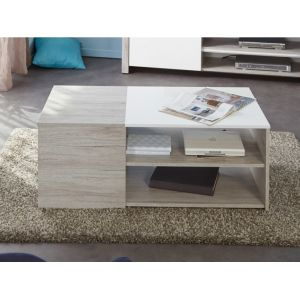 "Swithome Table basse ""Lune"" - 107 x 54 x 41 cm Gris et Blanc"
