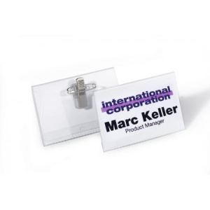 Durable 8157-19 - Badge avec clip combi (40 x 75 mm)