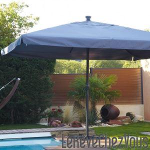 DCB Garden Parasol carré avec manivelle 400 x 400 cm