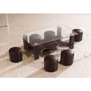 Table basse Hula Hoop avec 6 poufs