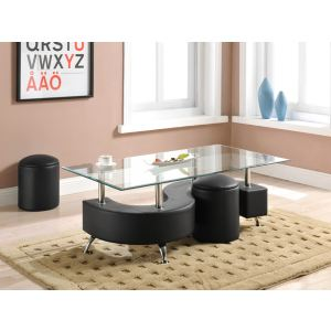 Table basse Ying avec 2 poufs en simili