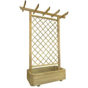 VidaXL Jardinière en bois avec treillis dim. 162 x 56 x 204 cm