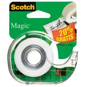 Scotch 2 rouleaux adhésifs Magic avec devidoir (19 mm x 25 m)