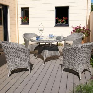 DCB Garden Table de jardin ronde Isa en résine tressée Ø120 x 75 cm