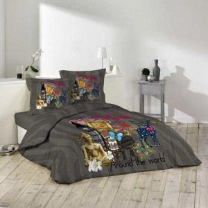 La Maison d'Amélie Mixy - Housse de couette et taies en coton (220 x 240 cm)
