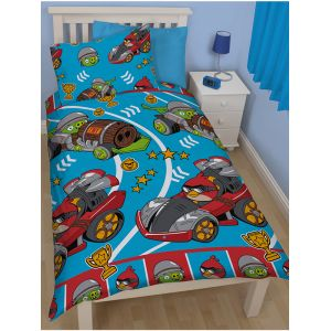 Go Fast Angry Birds - Housse de couette et taie (135 x 200 cm)
