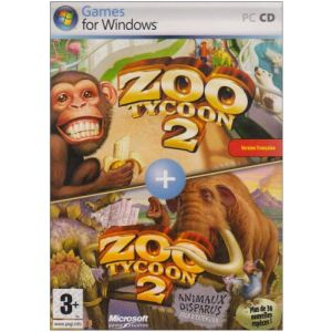 Coffret Zoo Tycoon 2 + Animaux Disparus (Extinct Animals) - Le jeu + l'extension sur PC