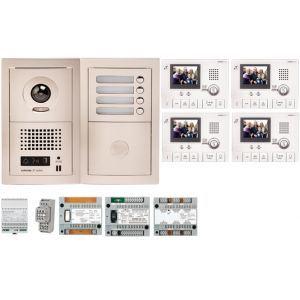 Aiphone GTV4E - Pack vidéo 4 BP avec 4 moniteurs GT1CL préprogrammés (200313)