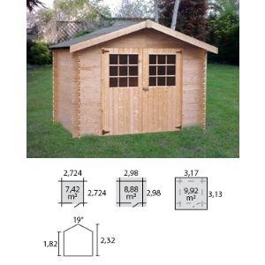 Decor et jardin 63457S000 - Abri de jardin en bois massif 28 mm 8,88 m2 (porte double)