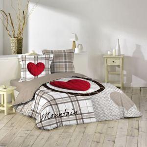 Love Mountain - Housse de couette et 2 taies 100% coton 42 fils (220 x 240 cm)