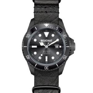 Beuchat BEU1950/7 - Montre pour homme avec bracelet en cuir