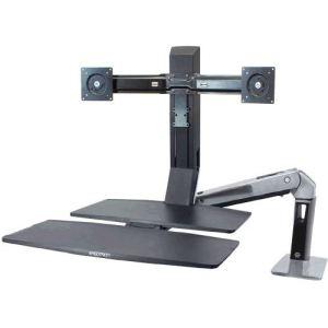 Ergotron 24-316-026 - Double bras support d'ecran WorkFit avec pied
