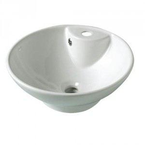Planetebain Vasque à poser ronde et fine en porcelaine