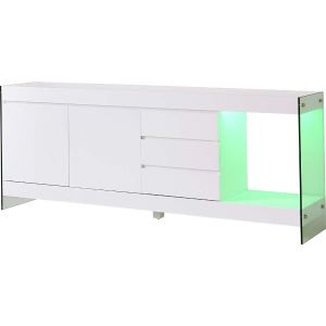 Buffet Cube à éclairage Led avec 2 portes, 3 tiroirs et 1 niche en bois et verre