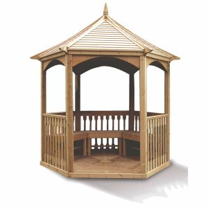Foresta KI A28.01 - Pavillon hexagonal élégant toiture bois 7,30 m2