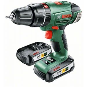 Bosch PSB 18 LI-2 Li-Ion 18V 2.5Ah - Perceuse-visseuse à percussion sans fil avec 2 batteries et mallette