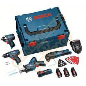 Bosch Pack 5 machines 10,8V 2,5Ah : Perceuse GSR 10,8 2 Li + Découpeur GOP 10,8V Li + Visseuse à chocs GSR 10,8 Li +  Lampe GLI + Scie sabre GSA 10,8V Li