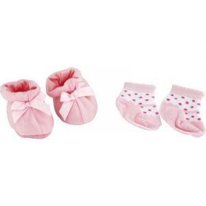 Calinou Chaussons et chaussettes rose pour poupée