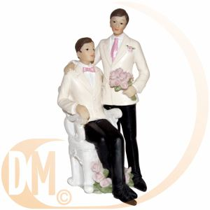 Figurine couple de mariés hommes (13 cm)