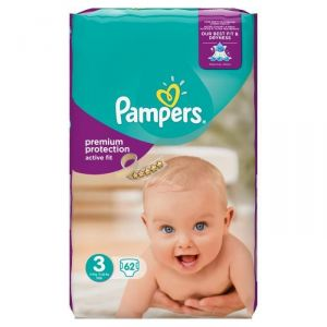 Pampers Active Fit taille 3 Midi 5-9 kg - 62 couches