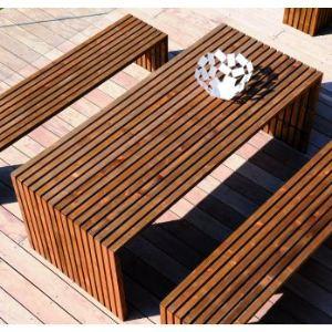 Jardipolys Table de jardin rectangulaire Karel Choko en épicea 200 x 86 x 74 cm