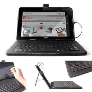 Duragadget Etui aspect cuir  avec clavier intégré, port de maintien et stylet pour tablette Acer Iconia Tab A210, A211, A510 et A500