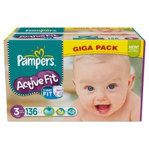 Pampers active fit taille 3 midi 4 9 kg giga pack x - Couches pampers active fit taille 4 giga pack ...