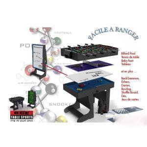 BCE Riley Table multi jeux 12 en 1 pliable noir