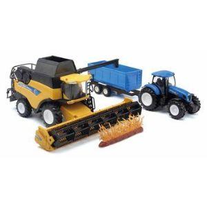 New Ray 05763 - Coffret New Holland moissonneuse avec tracteur et sa remorque