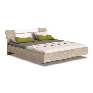 Someo Lit Abaza avec tête de lit en bois (160 x 200 cm)