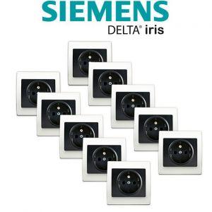 Siemens LOT 10 Prise 2P+T Anthracite Delta Iris + Plaque basic Blanc