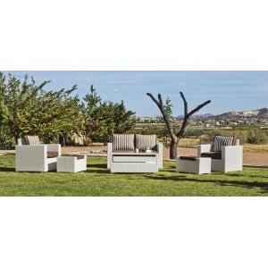 Hévéa Tuscan 9 - Salon de jardin avec coussin