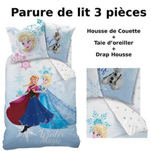Cti La Reine des Neiges - Housse de couette, drap housse et taie (140 x 200 cm)