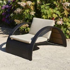 DCB Garden Swing - Bain de soleil demi-cercle en résine tressée avec coussin