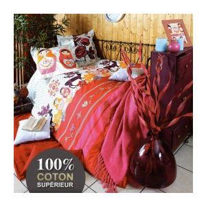 Folklo - Housse de couette et 2 taies 100% coton supérieur 52 fils (220 x 240 cm)