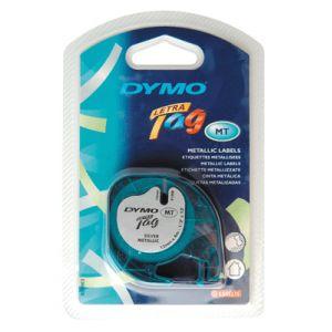 Dymo 91208 - Ruban cassette LetraTag noir / argent 12 mm x 4 m