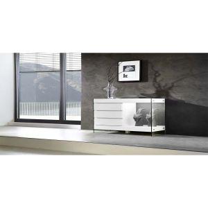 Buffet Cube avec 3 tiroirs et 1 niche en bois et verre à éclairage Led (100 cm)