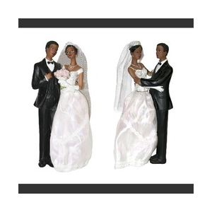 Figurine couple de mariés de couleur (23 cm)