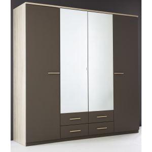 Someo Armoire Florine avec 4 portes et 2 miroirs