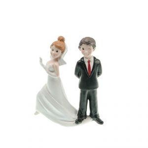 Chaks 80163 - Figurine en résine Couple de mariés Attrape-moi par la robe (15 cm)
