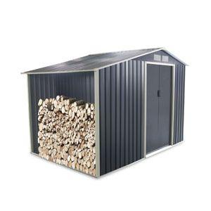 Abri de jardin et bûcher en métal 13 m² gris anthracite