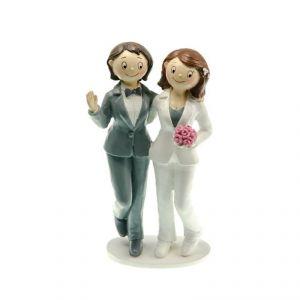 Chaks 80186 - Figurine en résine Couple de mariés Gay épaule contre épaule Filles (18 cm)