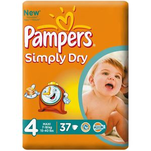 Pampers Simply Dry taille 4 Maxi (7-18 kg) - 37 couches