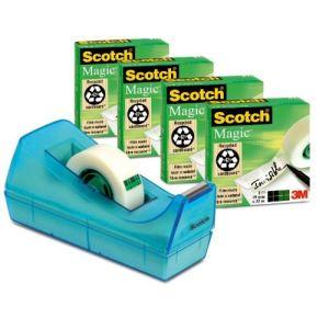 Scotch 4 rouleaux rubans adhésifs invisibles avec dévidoir C38 (19mm x 33m)