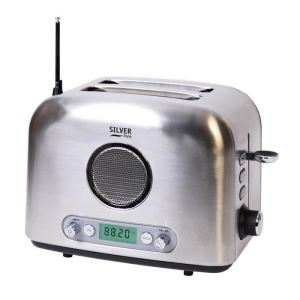 Eurotech Silver Style 514 - Grille pain 2 fentes avec fonction radio