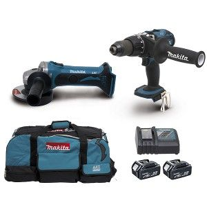 Makita DLX2026M - Perceuse visseuse à percussion DHP451 + Meuleuse angulaire 115mm DGA452