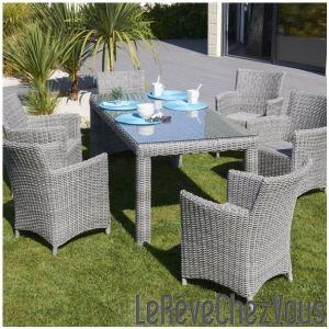 DCB Garden Table de jardin rectangulaire Elegance en résine tressée 180 x 90 x 76,5 cm