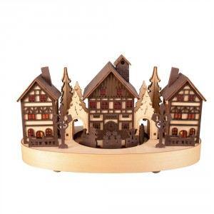 Blachère illumination Village miniature en bois et train 2 couleurs