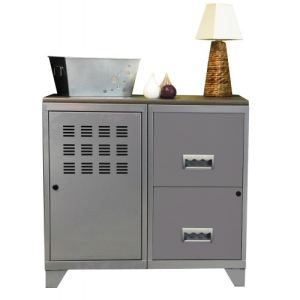 Armoire 1 porte 2 grand tiroirs avec plateau en pin